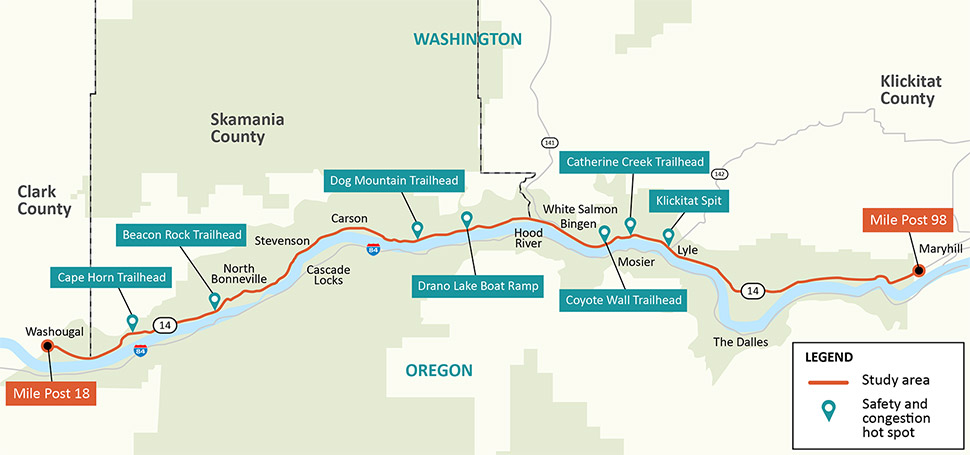 Map showing the study area, marked by a red line, on State Route 14 from mile post 18 to mile post 98. Safety or congestion hotspots are labeled in green, including from west to east: Cape Horn trailhead, Beacon Rock trailhead, Dog Mountain trailhead, Drano Lake boat ramp, Coyote Wall trailhead, Catherine Creek trailhead and Klickitat Spit.